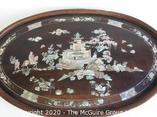 """Asian Hand Carved Wooden Tray with Inlaid Mother of Pearl Decoration.  Measures approximately 23 1/2"""" x 14 1/2"""""""