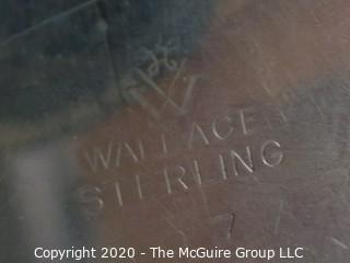 Two Sterling Silver Serving Trays, one marked Wallace Sterling. Together they weigh approximately 975 grams.