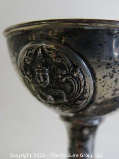 Set of 6 Sterling Silver Goblets with Asian Motif. Each weighs approximately 54 grams for a total of 378 grams.