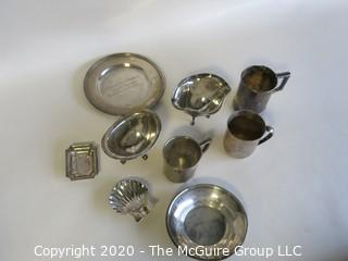 Group of Nine Sterling Silver Serving Pieces including Three Baby Cups. Weighs a total of approximately 400 grams.