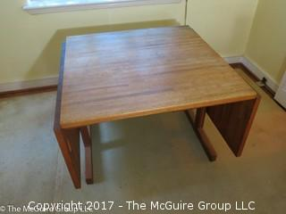 "Butcher block drop leaf dining table (with ends down 36 x 36 x 28 1/2T; each wing 18"")"