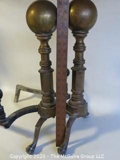 "Pair of Heavy Brass Cannonball Fireplace Andirons.  Approximately 22"" tall"
