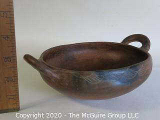 """Hand Thrown Double Handle Red Clay Pottery Serving Bowl.  Measures approximately 8"""" in diameter including handles. Made in Peru."""