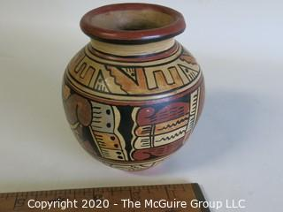 """Hand Thrown and Painted Red Clay Pottery Vase, Made in Peru. Measures approximately 5"""" x 4"""""""