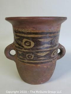 """Hand Painted Double Handle Vase, Made in Peru. Measures approximately 6"""" x 4"""""""