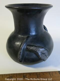 "Hand Thrown Black Clay Vase with Applied Decoration. As Is. In the style of Barro Negro Pottery of Oaxaca, Mexico. Approximately 5"" X 4"""