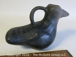 "Hand Made Black Clay Pottery Bird Pitcher. In the style of Barro Negro Pottery of Oaxaca, Mexico. Measures approximately 4 1/2"" X 6 1/2"""