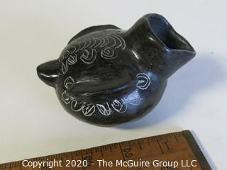 "Hand Made Black Clay Pottery Figural Pitcher. In the style of Barro Negro Pottery of Oaxaca, Mexico. Measures approximately 3"" x 5"""