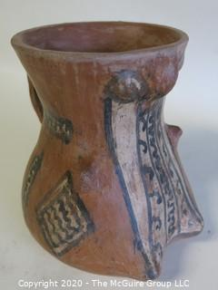 "Hand Thrown and Painted Red Clay Pottery Vase. Made in Peru. Measures approximately 4 1/2"" X 4 1/2"""