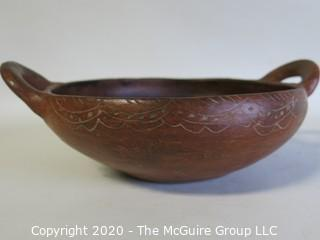 "Hand Made Red Clay Pottery Double Handle Bowl. Made in Peru. Measures approximately 8"" in diameter including handles"