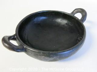 "Hand Made Black Clay Pottery Double Handle Bowl. In the style of Barro Negro Pottery of Oaxaca, Mexico. Measures approximately 7"" in diameter"