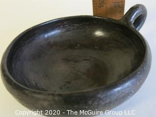 """Hand Made Black Clay Pottery Single Handle Cup. In the style of Barro Negro Pottery of Oaxaca, Mexico.  Measures approximately 6"""" in diameter including handle"""