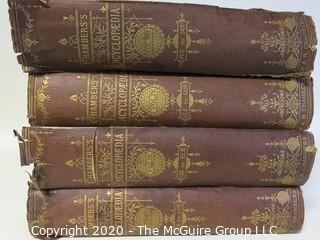 Four Volume Set - Chamber's Encyclopedia - Published 1884.  As is, some damage to cover and spine.