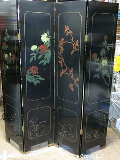 """Asian Black Lacquer Four Panel Floor Screen Room Divider - Hand Painted with Brass Accents. Each panel measures approximately 16"""" wide X 72"""" tall.  Total length approximately 64"""" long."""