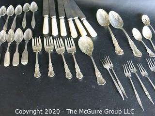 Set of Silver Plate Flatware with Mother of Pearl Handle Knives
