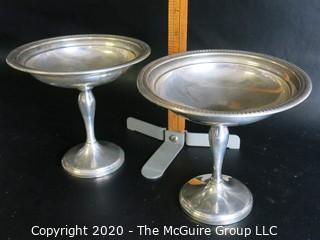"""Pair Sterling Silver Weighted Footed Compotes.  Approximately 6"""" tall and weigh approximately 390 grams"""