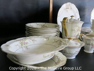 Set of Floral Decorated Theodore Haviland Porcelain in Rosalinde Pattern.  Includes Serving Pieces and Coffee Set.