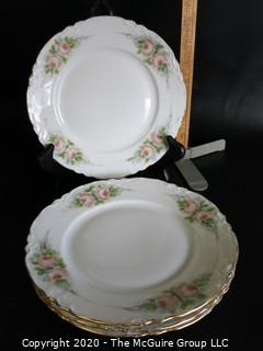 Set of 4 Hand Painted Hutschenreuther Selb LHR Bavarian China Plates. Signed by Artist.