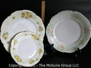 Set of 3 Hand Painted Hutschenreuther Selb LHR Bavarian China Plates.  2 in Silvia Pattern.