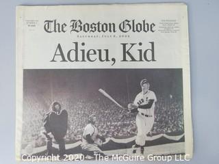 July 6, 2002 Boston Globe, Death of Ted Williams