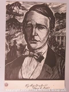 """Print of Stephen Foster by Howard Simon for American Society of Composers Authors Publishers.  On Paper 8"""" x 11""""."""