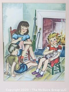 Color Print, Children in Front of Fireplace, 1946