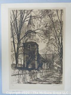 Signed and Numbered Engraving. Bruton Parrish Church by Samuel Chamberlain