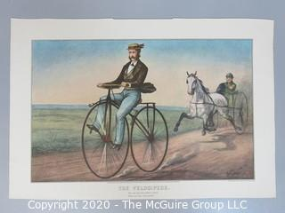 Reprinted from Lithograph by Currier & Ives, The Velocipede