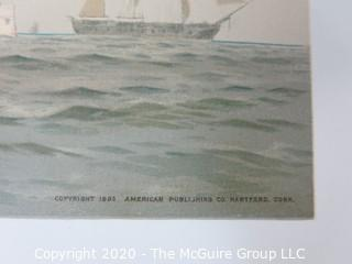 Portsmouth, Constellation, Bancroft Saratoga, Ships, Color Print by Fred Cozzens
