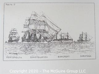 Portsmouth, Constellation, Bancroft Saratoga, Ships, Plate #14.  Black and White print by Fred Cozzens.