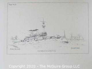 Machias, Massachusetts, Castine, Ships, Plate #8.  Black and White print by Fred Cozzens.