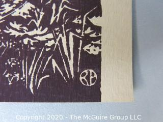 """Black & White Woodblock Print of Split Rail Fence, Signed RA.  Measures approximately 10 1/2"""" x 11 1/2""""."""