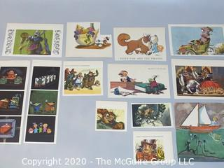 Group of Color Book Pages from Children's Literature.  Includes Wind in the Willows, Alice and Wonderland and Walt Disney
