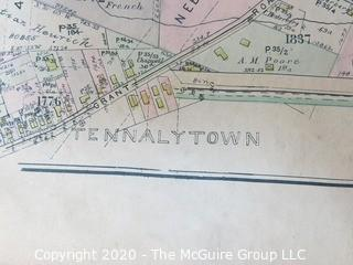 "Antique Map of TENNALYTOWN, Plan 32 from Baist's Real Estate Atlas of the District of Columbia, Surveys of Washington. Separated from book and printed on linen.  Measures approximately 21 1/2"" x 34"". Some Foxing to edges."