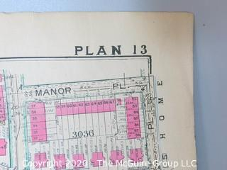 """Antique Map, Plan 13 from Baist's Real Estate Atlas of the District Separated from book and printed on linen.  Measures approximately 21 1/2"""" x 34"""". Some Foxing to edges.of Columbia, Surveys of Washington. Measures approximately 34"""" long. Some Foxing to edges."""