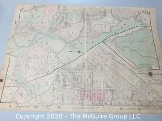 """Antique Map, Plan 27 from Baist's Real Estate Atlas of the District of Columbia, Surveys of Washington. Separated from book and printed on linen.  Measures approximately 21 1/2"""" x 34"""". Some Foxing to edges."""