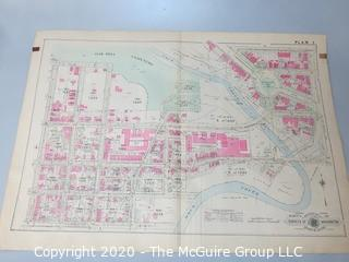 """Antique Map, Plan 3 from Baist's Real Estate Atlas of the District of Columbia, Surveys of Washington. Separated from book and printed on linen.  Measures approximately 21 1/2"""" x 34"""". Some Foxing to edges."""