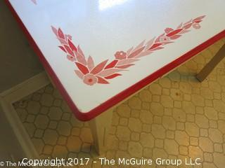 Enameled top mid-century kitchen table with single drawer below; 40 x 25 x 30T