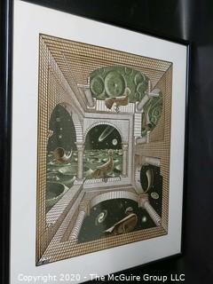 "Framed M.C. Escher Print Entitled ""Other World"".  Measures approximately 26 1/2"" X 22 1/2""."