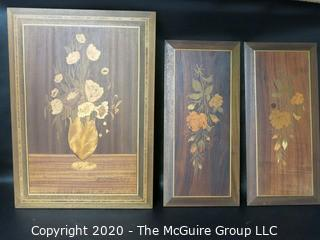 """3 Marquetry Inlaid Wood Plaques, Made in Italy.  Measures approximately 16"""" X 22"""" and 19 1/2"""" X 9 1/2""""."""