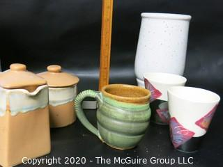 Group of 6 Artisan Studio Pottery Pieces.  Two painted cups, one mug, set of lidded dish and lidded Pitcher and  Vase,