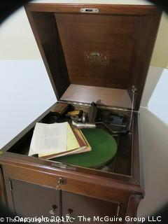 """Victor Talking Machine Co. """"Victrola"""" and cabinet.  (Condition is excellent; and comes with all the items photographed); 19W x 22 1/2D x 43 1/2T"""