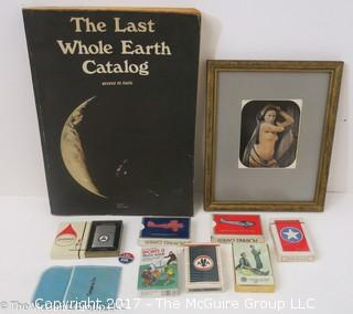 "Collection including ""The Last Whole Earth Catalog; NIB Zippo lighter; Tiffany bag; and several unopened packs of playing cards"