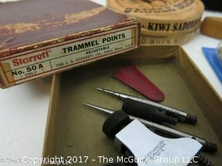 Collection including Starrett Trammel Points Set with original box; as well as shoe polishing tools