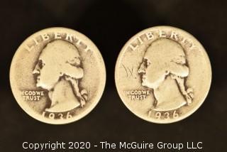 U.S. Collectible Coins: 1936 Washington Quarter & 1936 Washington Quarter