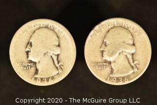 U.S. Collectible Coins: 1936 Washington Quarter & 1936-S Washington Quarter