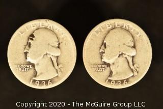 U.S. Collectible Coins: 1936-D Washington Quarter & 1936 Washington Quarter