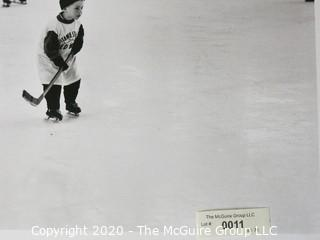 """Black & White Photo of Kids playing Hockey. Measures approximately 16"""" X 20"""" on Photo Board."""