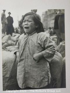 """1947 Black & White Large Format Photo of Mao Kang; Her Tears are China's by Rickerby. Measures approximately 16"""" X 20"""" on Photo Board."""