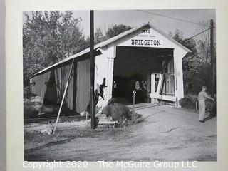 """Photo, Positive, B&W, Historical, Americana, Covered Bridge. Measures approximately 16"""" X 20"""" on Photo Board."""